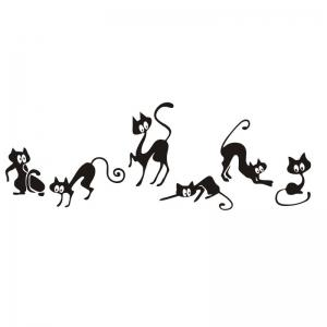 ... DSU Cute Cat Wall Stickers , Set Of 6 Funny Cute Cat Vinyl Wall Decal  Stickers Part 63