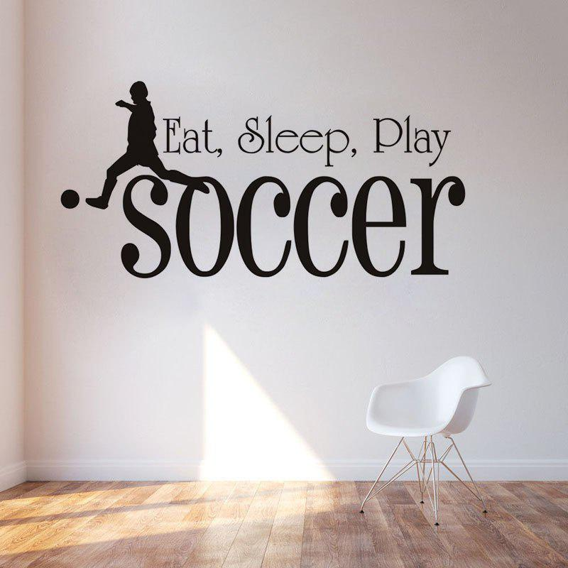 DSU Eat Sleep Play Soccer For Kids Room Sport Black  Waterproof Wallpaper Decal Boys Bedroom Home DecorationHOME<br><br>Size: 57X28CM; Color: BLACK; Brand: DSU; Type: Plane Wall Sticker; Subjects: Holiday,Leisure,Letter; Function: Decorative Wall Sticker,Fridge Sticker; Material: Vinyl(PVC); Suitable Space: Bedroom,Living Room; Quantity: 1;