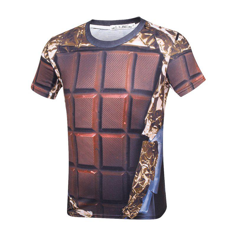 3D Chocolate Print Creative Round Neck Short Sleeve T-shirtMEN<br><br>Size: XL; Color: BROWN;