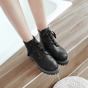 Women's Casual Brief Style Lace Up Round Shoes -