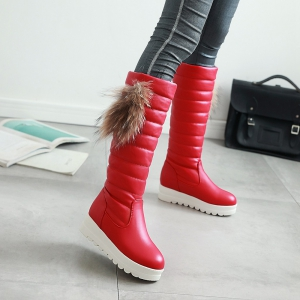 Women's Knee Length Boots Side Fluff Decor Solid Color Elegant Chic Shoes -