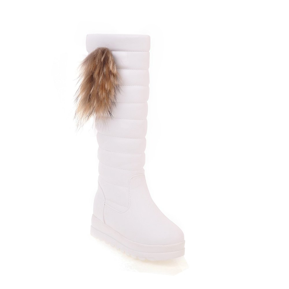 Sale Women's Knee Length Boots Side Fluff Decor Solid Color Elegant Chic Shoes