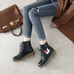 Women's Short Boots Classic Fashion Design Lacing Flat Shoes -