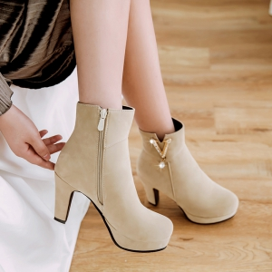 Women's Ankle Boots All-match Simple Style Trendy Rhinestone Ornament Thick Heel Shoes -