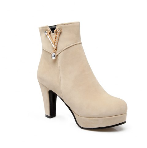Sale Women's Ankle Boots All-match Simple Style Trendy Rhinestone Ornament Thick Heel Shoes