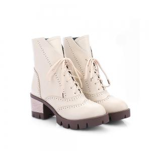 New Style High Heel English Short Sleeve Boots Students Retro Short Boots -