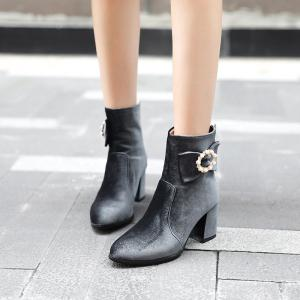 Women's Ankle Boots Beading Bow Pointed Toe High Heel Boots -