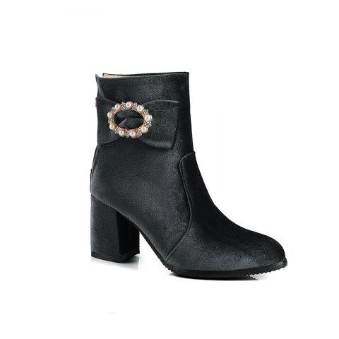 Affordable Women's Ankle Boots Beading Bow Pointed Toe High Heel Boots