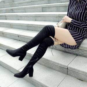 Women's Above Knee Boots Solid Color High Heel Boots -