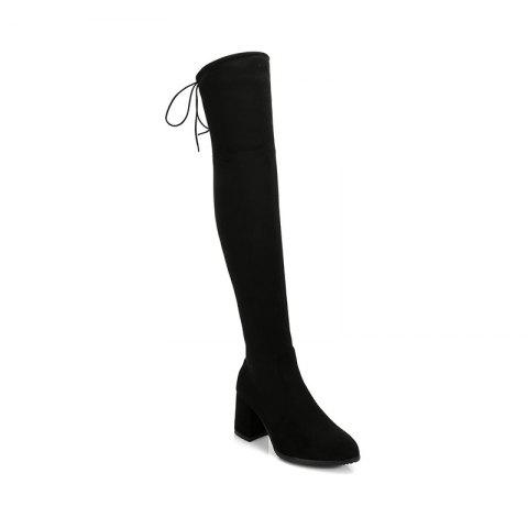 Online Women's Above Knee Boots Solid Color High Heel Boots
