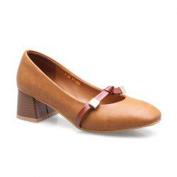 Женские Mid Heel Pumps Материал PU Bow Shallow Mouth Square Head Rubber Sole All Match Shoes -