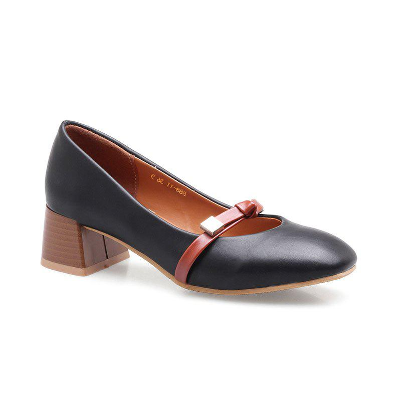 Женские Mid Heel Pumps Материал PU Bow Shallow Mouth Square Head Rubber Sole All Match Shoes