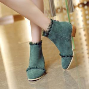 New Style Spring and Autumn Boots Low Heel Lace Scrub Boots -