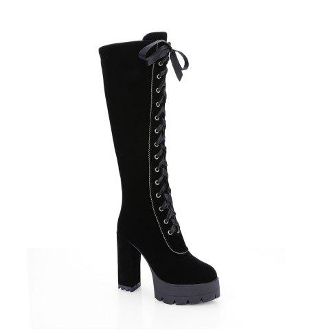 Shop New Fashion Lace High Heeled Boots