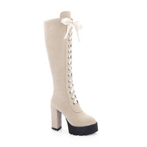 Discount New Fashion Lace High Heeled Boots