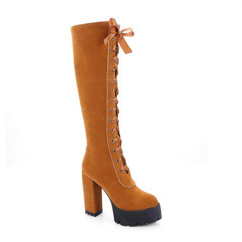 Shops New Fashion Lace High Heeled Boots
