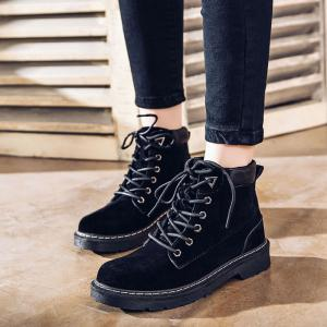 Women Stitching Suede Lace Up Ankle Boots -