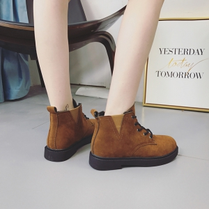 MK-8802 Head Lace Elastic Thick Bottom and Suede Martin Boots -