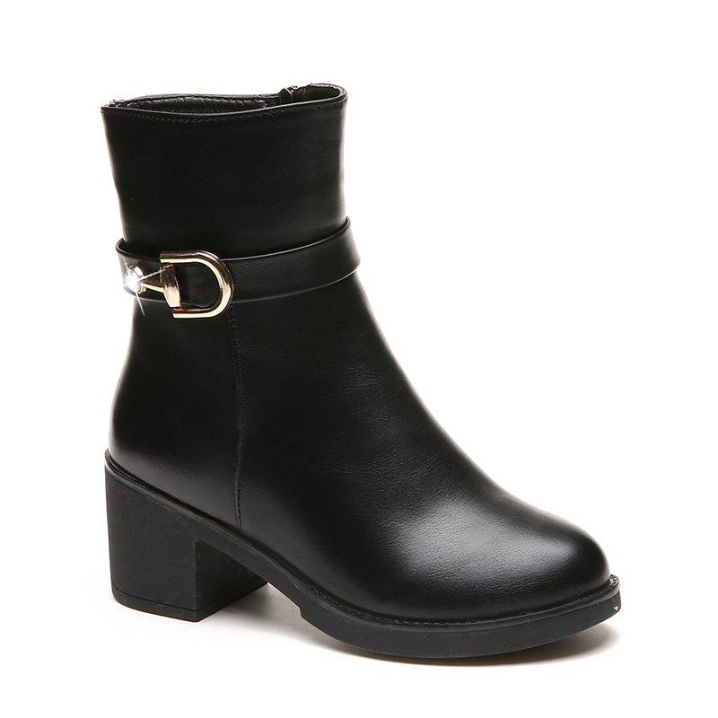 ALJ-A86Thick with All-Match Round Head Short Tube Martin Boots Shoes Zipper FashionSHOES &amp; BAGS<br><br>Size: 39; Color: BLACK;