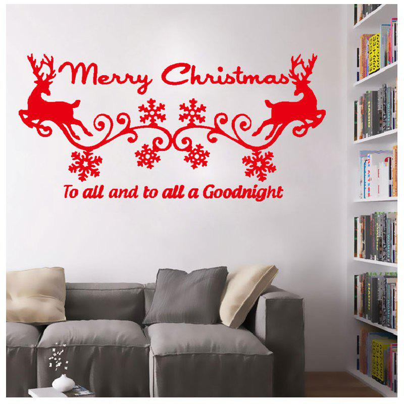 DSU Merry Christmas Elk Birds Gift Wall Sticker for Kids RoomHOME<br><br>Color: RED; Brand: DSU; Type: Plane Wall Sticker; Subjects: Holiday; Function: Decorative Wall Sticker,Fridge Sticker; Material: Vinyl(PVC); Suitable Space: Dining Room,Hotel,Living Room; Quantity: 1;