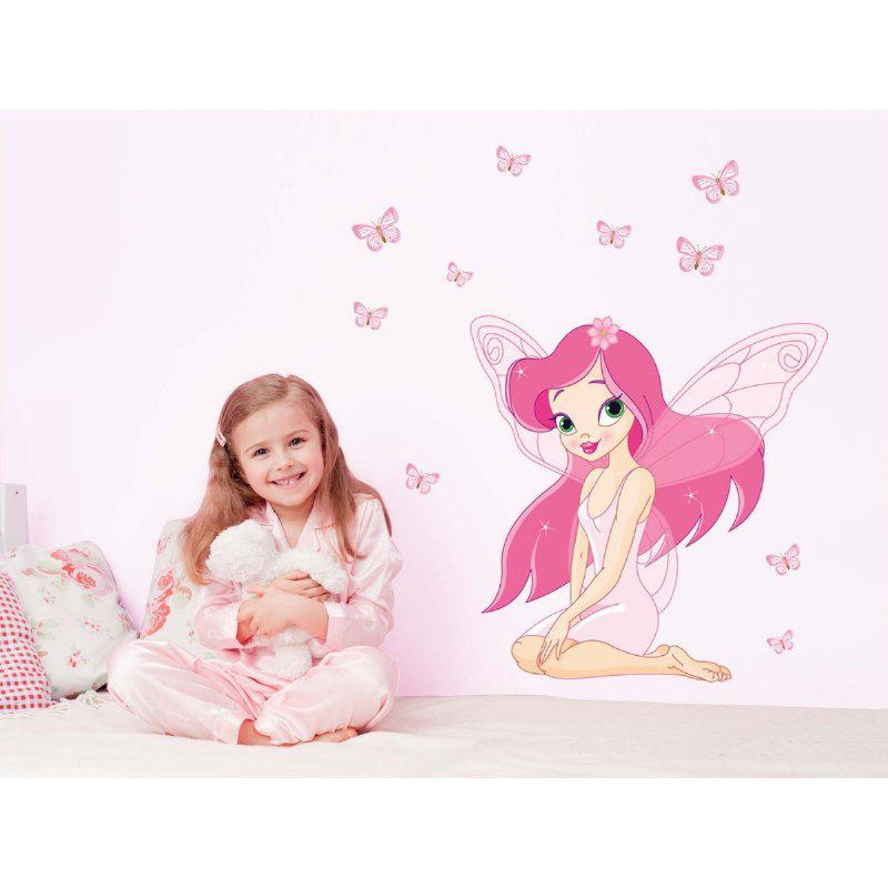 DSU Angel Girl Butterfly Wall Sticker for Kids Room DecorationHOME<br><br>Color: COLORFUL; Brand: DSU; Type: Plane Wall Sticker; Subjects: Cartoon; Function: Decorative Wall Sticker,Fridge Sticker; Material: Vinyl(PVC); Suitable Space: Bedroom,Living Room; Quantity: 1;