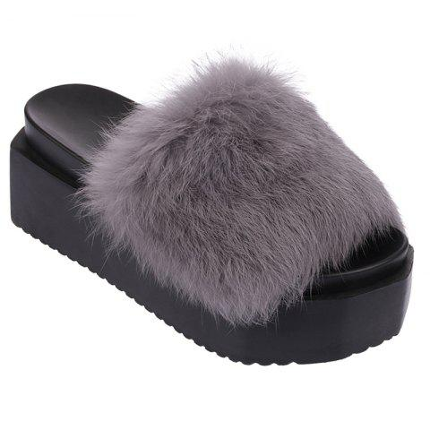 Affordable Hot Women Slippers Fashion Spring Winter Autumn Faux Fur Height 7CM Shoes