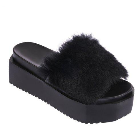 Store Hot Women Slippers Fashion Spring Winter Autumn Faux Fur Height 7CM Shoes
