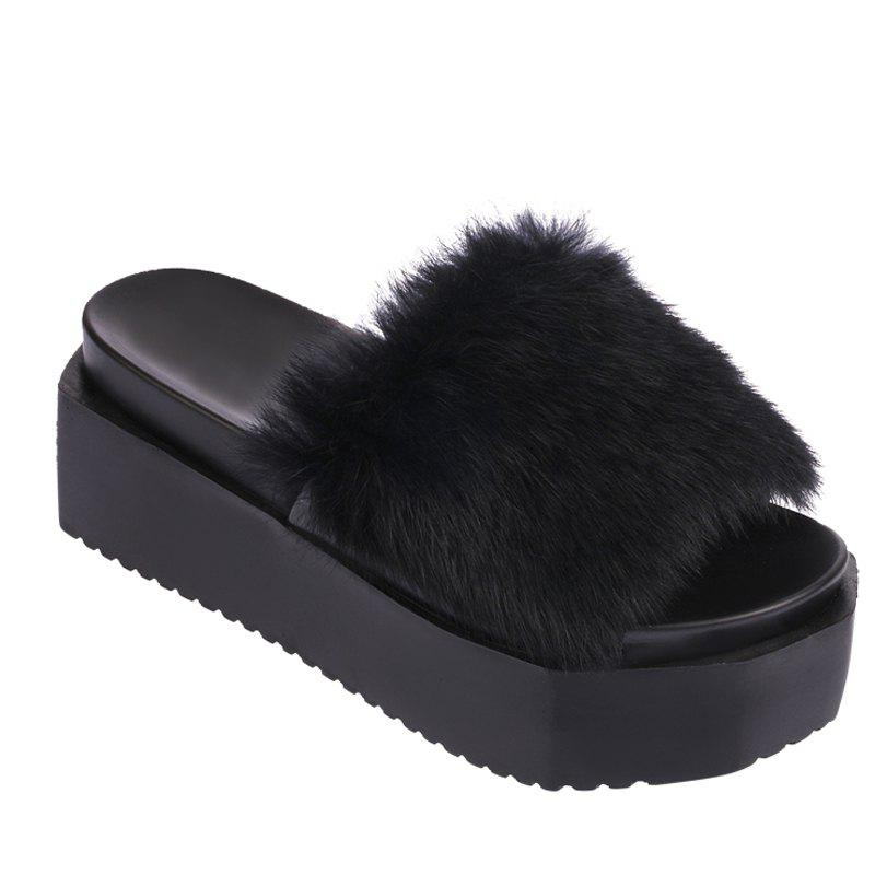 Latest Hot Women Slippers Fashion Spring Winter Autumn Faux Fur Height 7CM Shoes