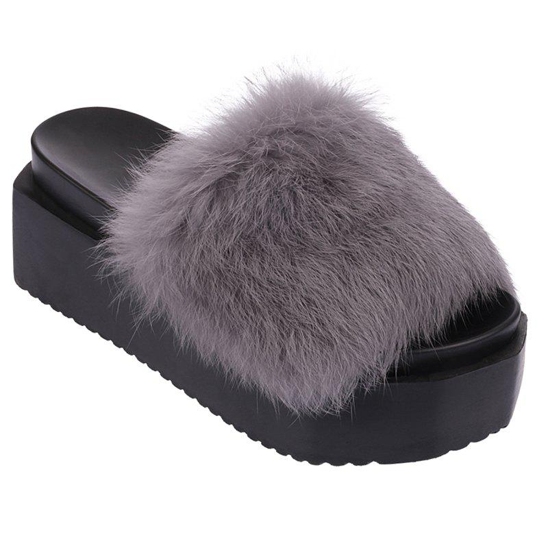 Chic Hot Women Slippers Fashion Spring Winter Autumn Faux Fur Height 7CM Shoes