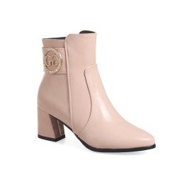 Women's Ankle Boots Solid Color All-match Thick Heeled Elegant Trendy Shoes -