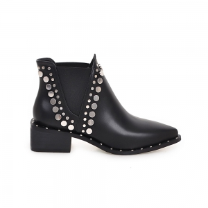 Women's Martin Boots Patchwork Rivet Decorative Classy Style Faddish Shoes -