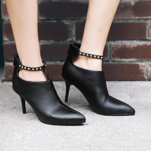 Women's Ankle Boots High Thin Heel Rivet Design All-match Stylish Shoes -