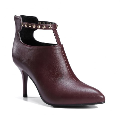 New Women's Ankle Boots High Thin Heel Rivet Design All-match Stylish Shoes