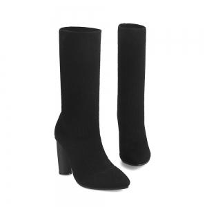 European and American Wind Pointed spring Stretch Socks Women's Short Boots -