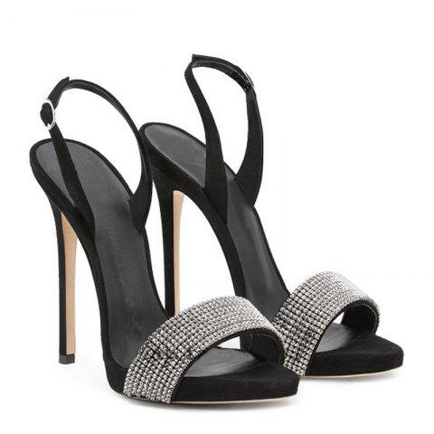 Store Women Shoes Buckle Strap Dress Stiletto Heel Sparkling Glitter Sandals