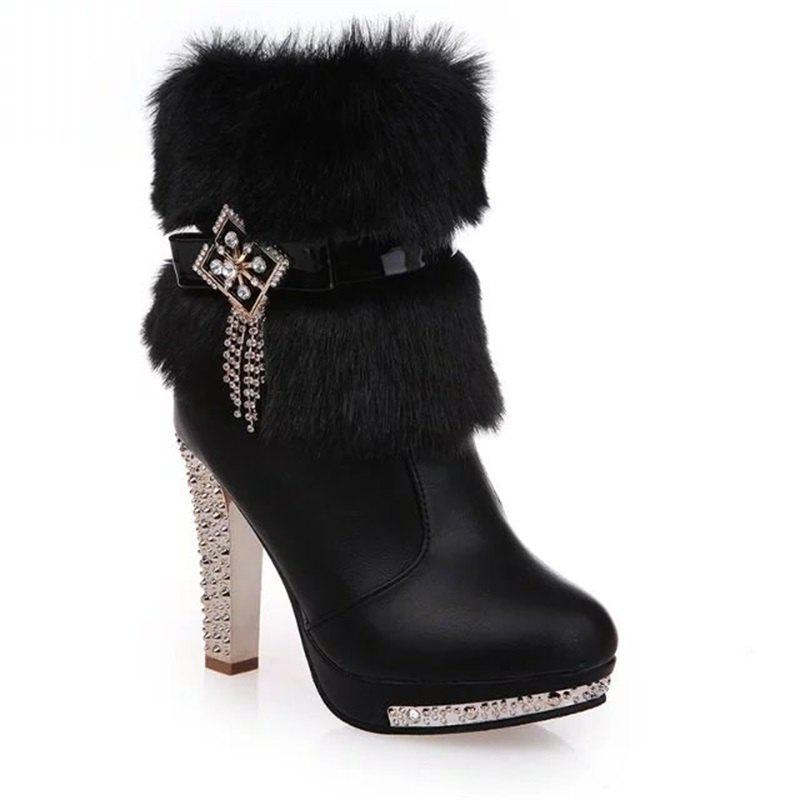 OMQ-828-1 Plus Short Tube Metal Decorative Fashion Cashmere Female Plush Diamond Thick Heeled Martin BootsSHOES &amp; BAGS<br><br>Size: 39; Color: BLACK;
