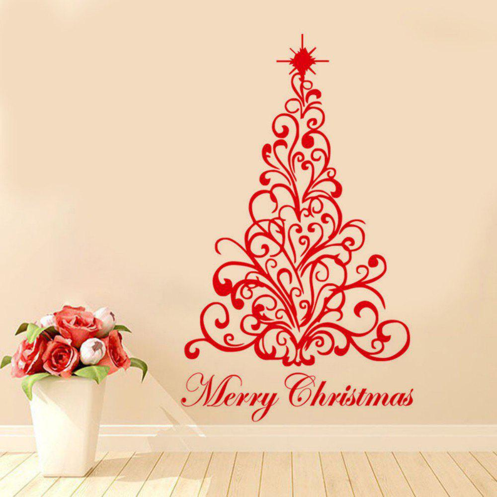 DSU JK813 Pattern Christmas Tree Simple Art Wall StickerHOME<br><br>Color: RED; Brand: DSU; Type: Plane Wall Sticker; Subjects: Christmas,Fashion,Flower,Holiday,Leisure; Art Style: Plane Wall Stickers; Function: Decorative Wall Sticker; Material: Vinyl(PVC); Suitable Space: Bathroom,Bedroom,Boys Room,Cafes,Dining Room,Game Room,Hotel,Kids Room,Kids Room,Kitchen,Living Room,Office,Study Room / Office; Layout Size (L x W): 58cm x 95cm; Effect Size (L x W): 58cm x 95cm; Quantity: 1;