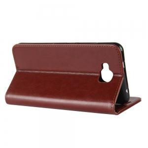 Durable Crazy Horse Pattern Back Buckle Flip PU Leather Wallet Case for BQ Aquaris U2 -