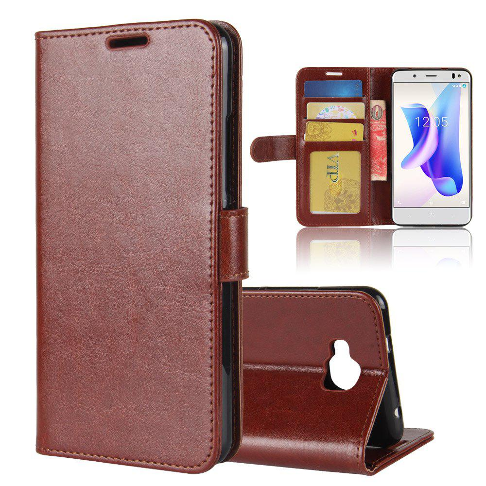 Trendy Durable Crazy Horse Pattern Back Buckle Flip PU Leather Wallet Case for BQ Aquaris U2 Lite