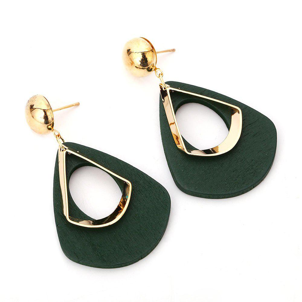 All-match Hollow Out Geometric Exaggeration Pendant EarringsJEWELRY<br><br>Color: GREEN;
