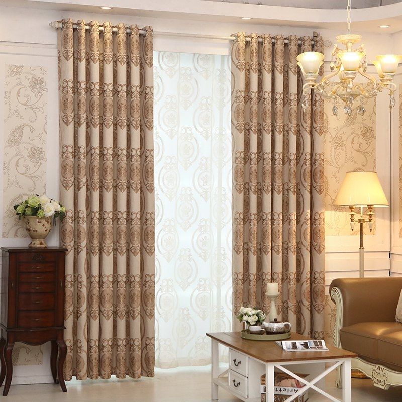 Outfit European Style Living Room Bedroom Restaurant Jacquard Curtain Set