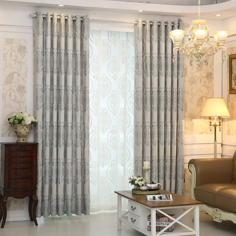 Store European Style Living Room Bedroom Restaurant Jacquard Curtain Set