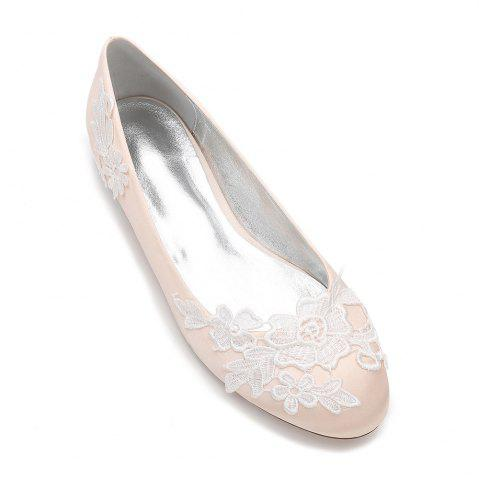 Online Women's Wedding Shoes Comfort Ballerina Spring Summer Satin Wedding Dress Party  Evening Applique Satin Flower Flat Heel