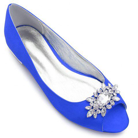 Latest Women's Shoes Satin Spring Summer Comfort Ballerina Wedding Shoes Flat Heel Peep Toe Rhinestone Sparkling Glitter Flower For Wedding