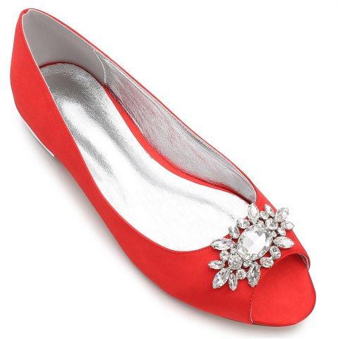Unique Women's Shoes Satin Spring Summer Comfort Ballerina Wedding Shoes Flat Heel Peep Toe Rhinestone Sparkling Glitter Flower For Wedding