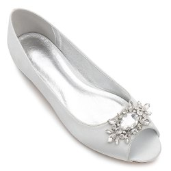 Women's Shoes Satin Spring Summer Comfort Ballerina Wedding Shoes Flat Heel Peep Toe Rhinestone Sparkling Glitter Flower For Wedding -