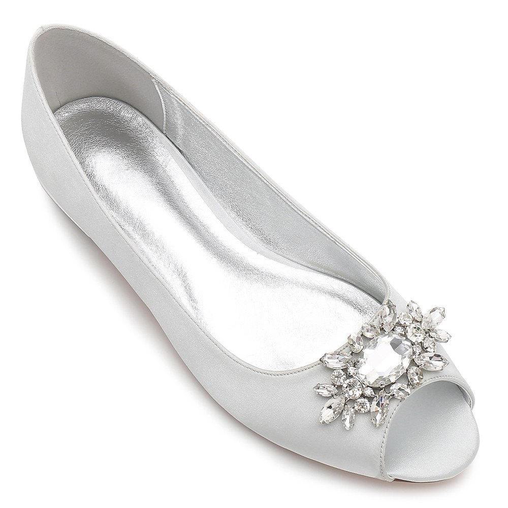 Outfit Women's Shoes Satin Spring Summer Comfort Ballerina Wedding Shoes Flat Heel Peep Toe Rhinestone Sparkling Glitter Flower For Wedding