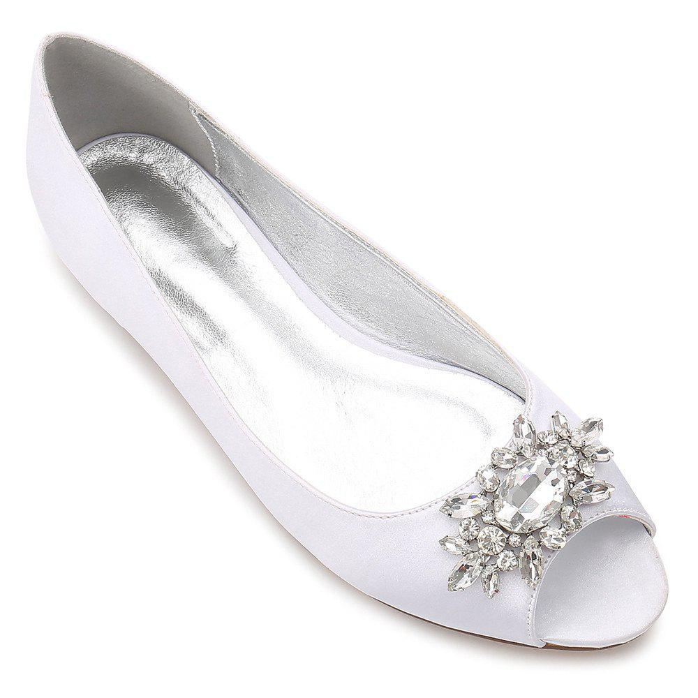 Fancy Women's Shoes Satin Spring Summer Comfort Ballerina Wedding Shoes Flat Heel Peep Toe Rhinestone Sparkling Glitter Flower For Wedding