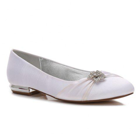 Shops Women's Shoes Satin Spring Summer Comfort Ballerina Wedding Shoes Flat  Heel Round Toe Rhinestone Bowknot