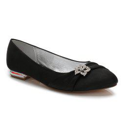 Women's Shoes Satin Spring Summer Comfort Ballerina Wedding Shoes Flat Heel Round Toe Rhinestone Bowknot Applique Satin Flower Sparkling -